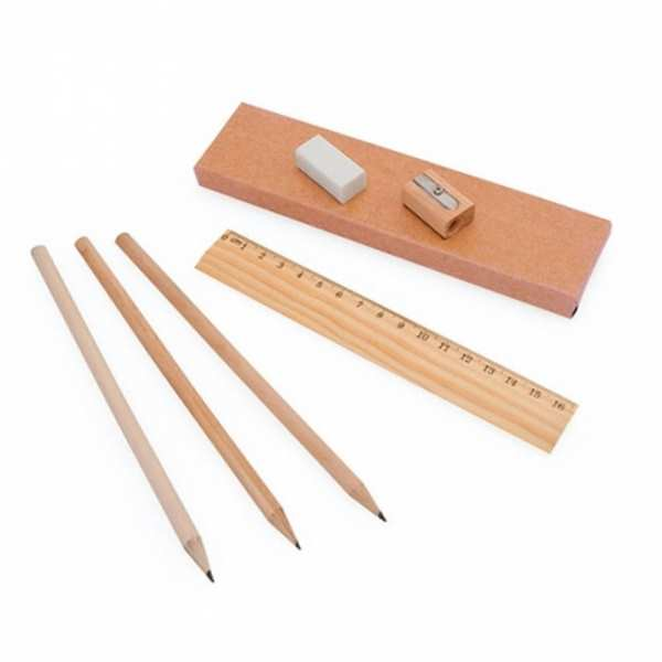 Набор Линия: 3 простых карандаша, точилка, ластик и линейка