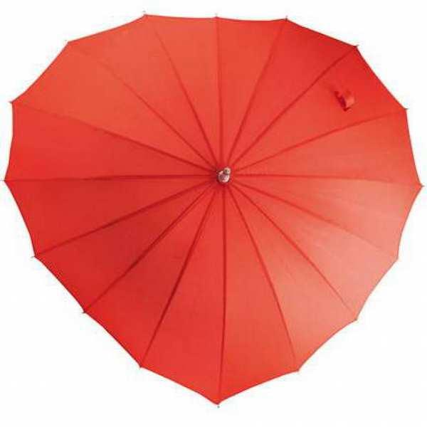 Зонт-трость Любовь, механический, цвет красный