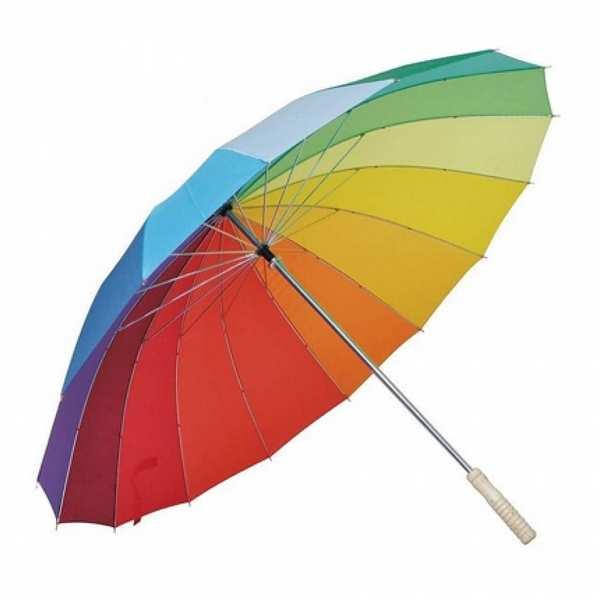 Зонт-трость Rainbow, полуавтомат, 16 разноцветных клиньев